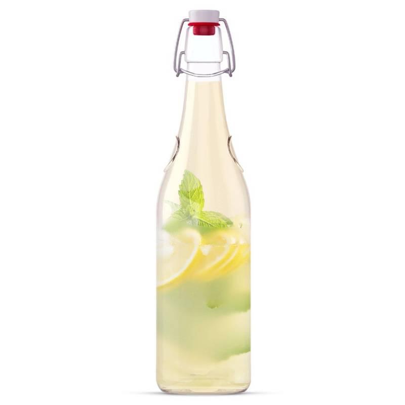 Sticlă de sticlă pentru alcool, vin, lichior, lichior, sirop, cu dop și clips, 0,75 l
