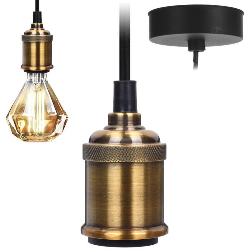Suport de lampă, suport de bec, carcasă de lampă, lampă suspendată, tavan, metal, auriu