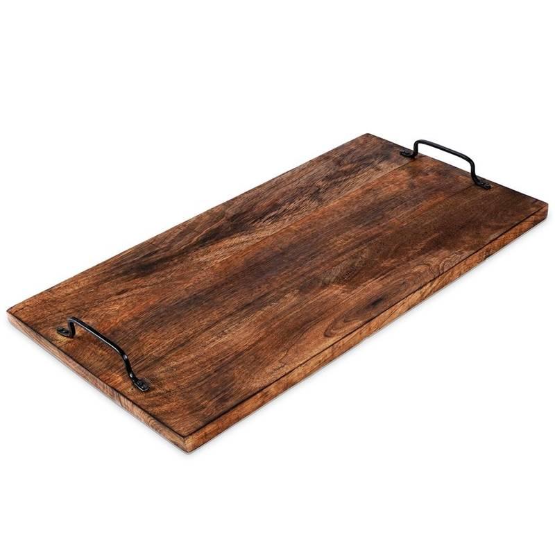 Tablă de bucătărie din lemn de mango pentru tăiere, servire, 56x29 cm, tavă cu mânere