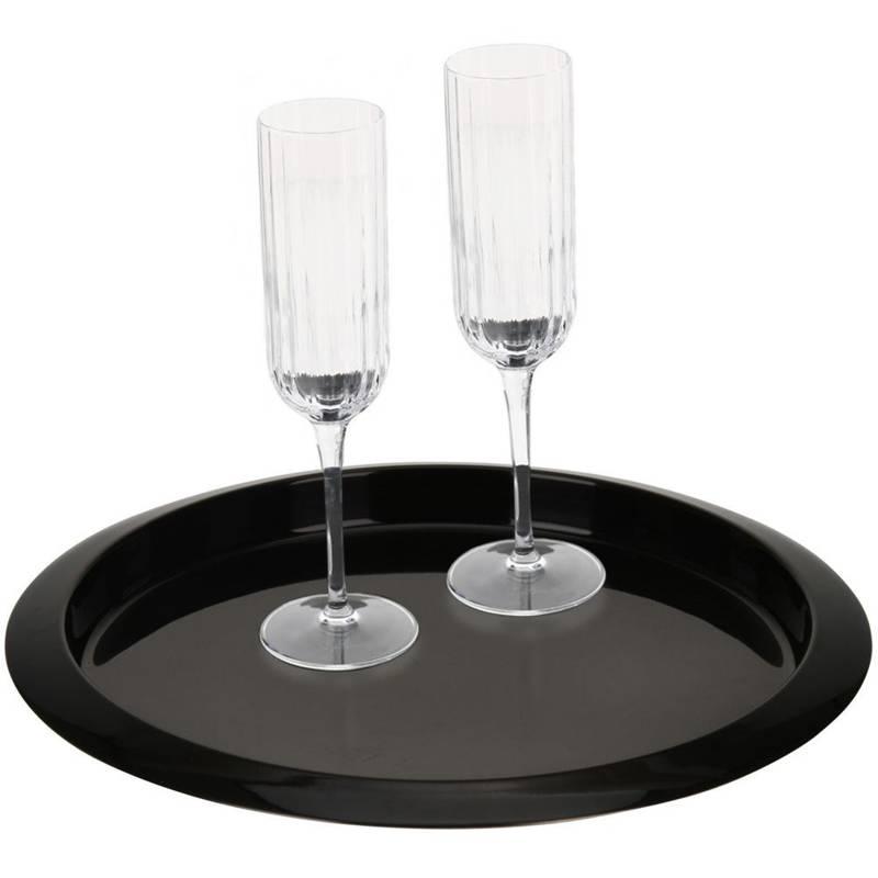 Tavă de servire din oțel negru, tavă pentru chelner, barman, tavă de bucătărie 35 cm